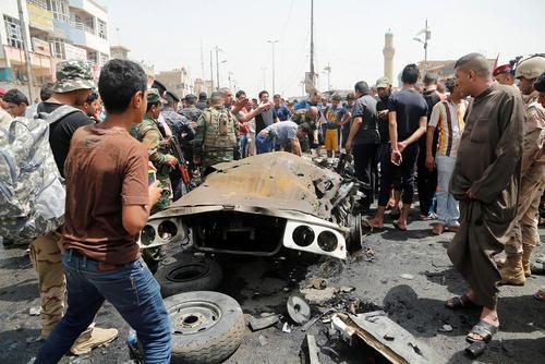 انفجار تروریستی یک کامیون بمبگذاری شده در شهرک صدر بغداد