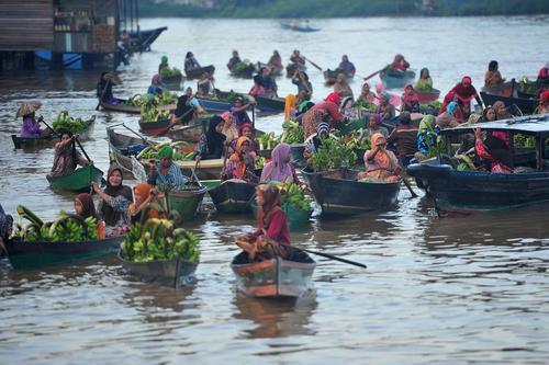 فروش میوه و سبزیجات روی قایق در آب – بازار شناور در کالیمانتان اندونزی