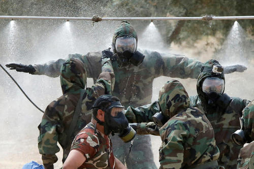 مانور مقابله با حملات شیمیایی بین نیروهای آمریکایی و اردنی – اردن