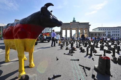 اعتراض دامداران آلمانی به قیمت گذاری محصولات لبنی و شیر – برلین