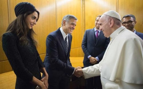 دیدار جورج کلونی و همسرش با پاپ فرانسیس – واتیکان