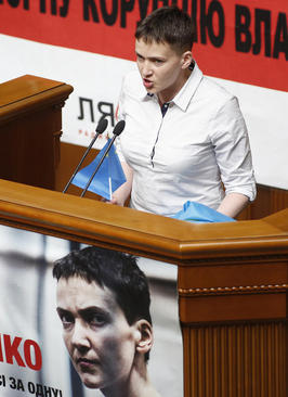 سخنرانی نادیا شوچنکو خلبان اوکراینی آزاد شده از روسیه در پارلمان اوکراین در کی یف