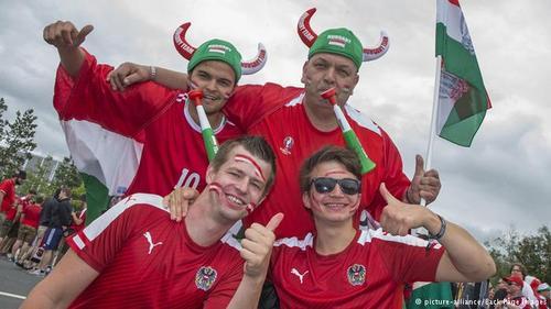 تیم ملی مجارستان یکی از نمایندگان شرق اروپا در جام ملتهای ۲۰۱۶ در فرانسه است. تصویری مشترک از هواداران تیمهای ملی مجارستان و اتریش پیش از برگزاری دیدار ملیپوشان دو کشور.