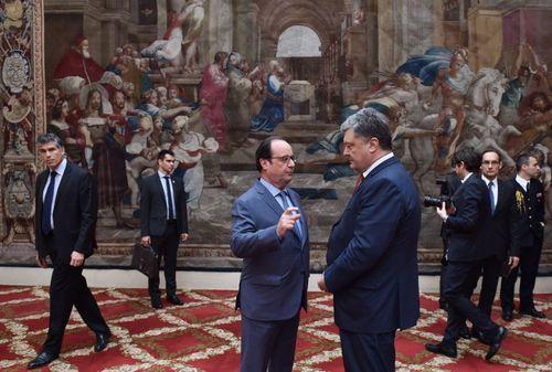 دیدار رییس جمهور فرانسه با همتای اوکراینی در کاخ الیزه