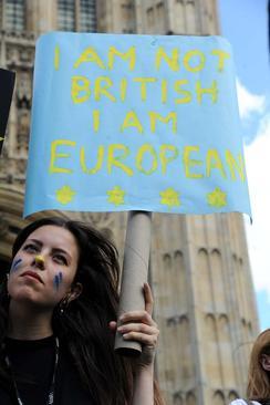 ناراحتی دوستداران عضویت بریتانیا در اتحادیه اروپا از نتایج همه پرسی خروج؛ روی پلاکارد نوشته : من انگلیسی نیستم من اروپایی هستم – لندن