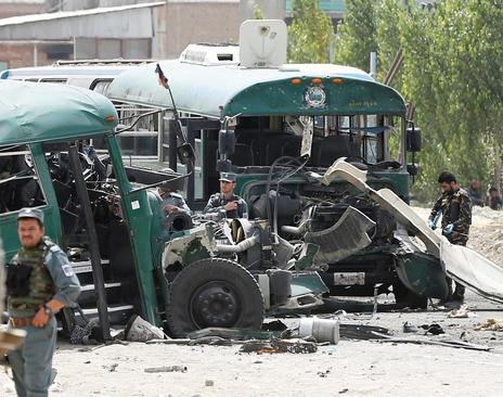 حمله تروریستی به نیروهای پلیس افغان در کابل
