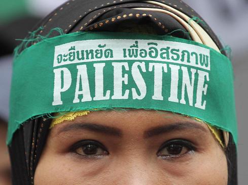 تظاهرات یک گروه اسلامگرای تایلندی در مقابل سفارت اسراییل در بانکوک در روز قدس