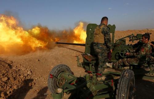 جنگ نیروهای نظامی کردستان عراق (پیشمرگه) در روستای حسن شام  با داعش