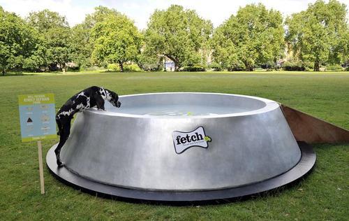 تعبیه کاسه آب بزرگ برای سگ ها در پارک های لندن