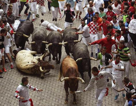 جشنواره گاو بازی سان فرمین در پامپلونا اسپانیا