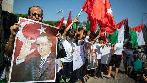 خوشحالی فلسطینی ها از پیروزی اردوغان در منطقه غزه