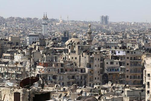 خانه های ویران شده  در بخش تحت کنترل شورشیان شهر حلب - سوریه