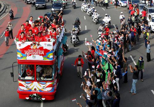 استقبال از مدال آوران المپیکی اندونزی در شهر جاکارتا