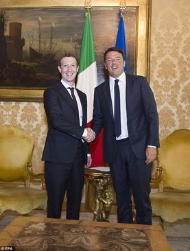 دیدار زاکربرگ با نخست وزیر ایتالیا