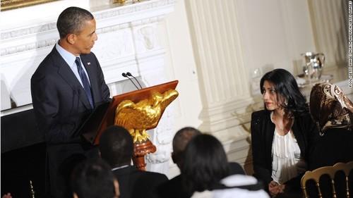 عابدین در کنار اوباما