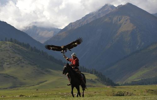 شکار عقاب در جریان مسابقات بین المللی - قرقیزستان