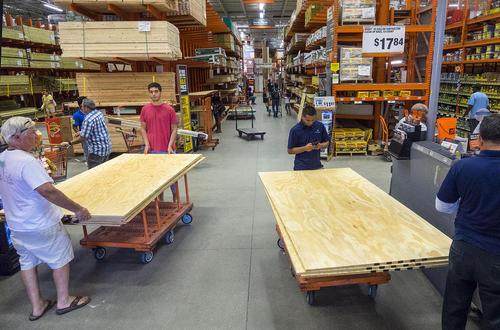 خرید چوب برای مستحکم سازی خانه ها در برابر توفان مهیب متیو – پالم بیچ فلوریدا آمریکا