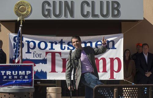 سخنرانی فرزند دونالد ترامپ نامزد انتخابات ریاست جمهوری آمریکا به نفع کمپین پدرش در جمع اعضای باشگاه اسلحه آمریکا در شهر کلرادو