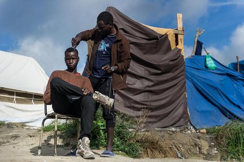 اصلاح موی یک پناهجوی آفریقایی تبار در اردوگاه پناهجویان موسوم به جنگل در کاله فرانسه