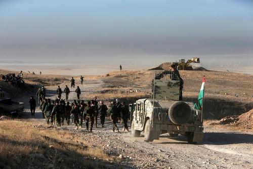 نیروهای پیشمرگه کرد در حال پیشروی در مناطق شرقی شهر موصل