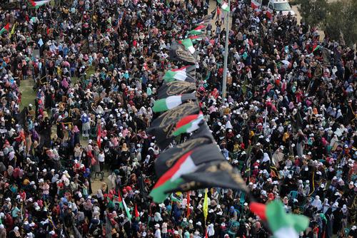 تظاهرات برای گرامیداشت بیست و نهمین سالگرد تاسیس جنبش جهاد اسلامی فلسطین – باریکه غزه