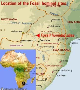 موقعیت جغرافیایی منطقه فسیل خیز آفریقا روی نقشه