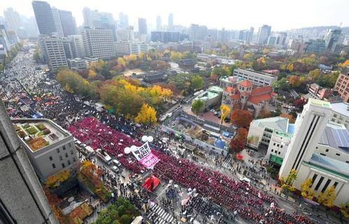تجمع علیه رئیس جمهور کره جنوبی در سئول/ منبع: خبرگزاری فرانسه