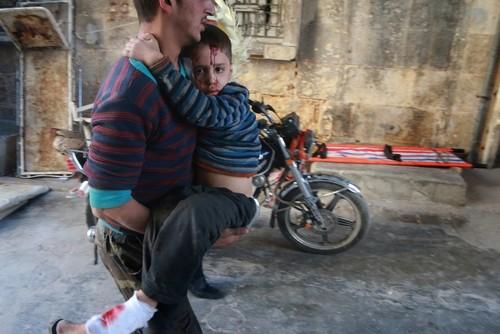 حمله هوایی به شهر حلب سوریه